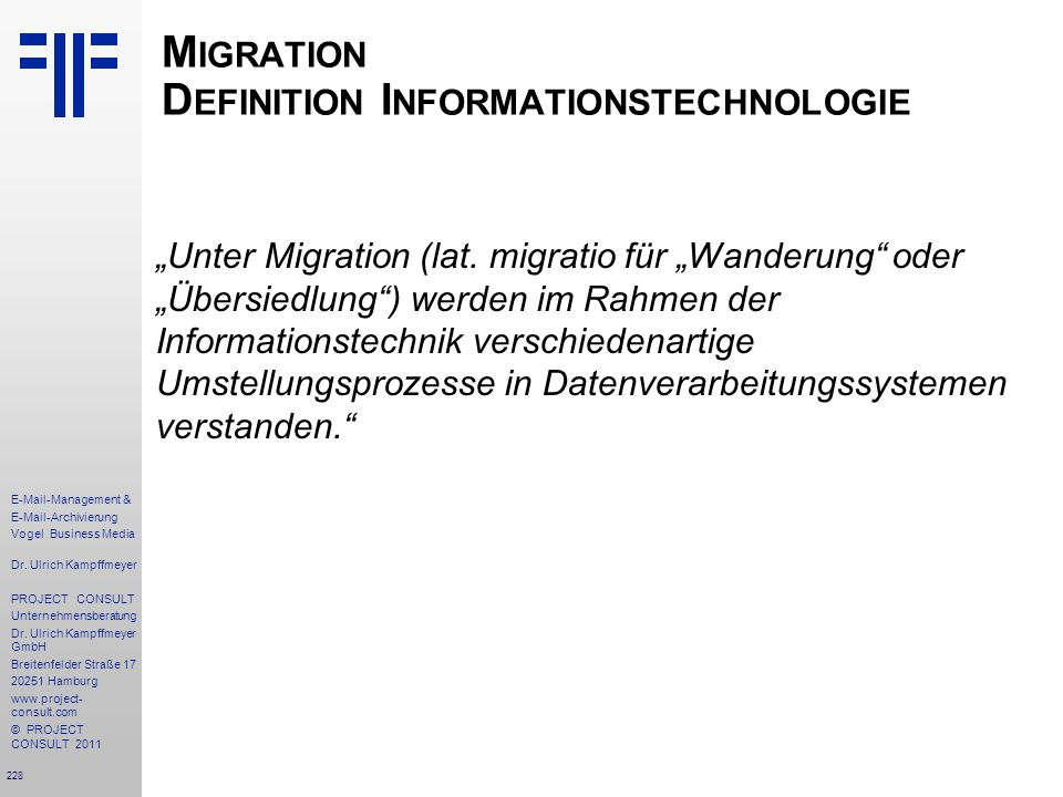 Migration Definition Informationstechnologie