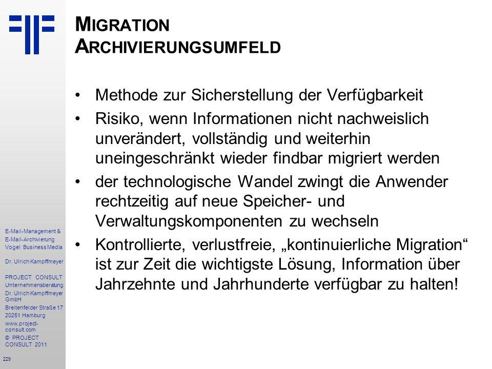 Migration Archivierungsumfeld
