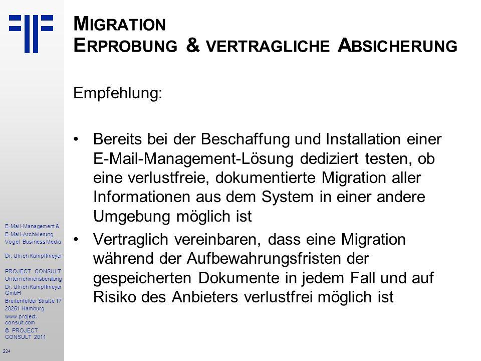 Migration Erprobung & vertragliche Absicherung