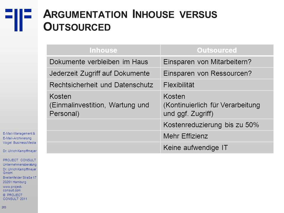 Argumentation Inhouse versus Outsourced