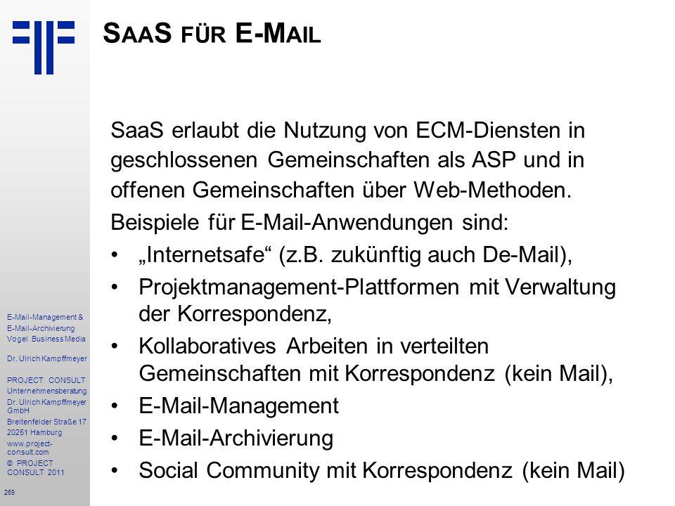 SaaS für E-Mail SaaS erlaubt die Nutzung von ECM-Diensten in