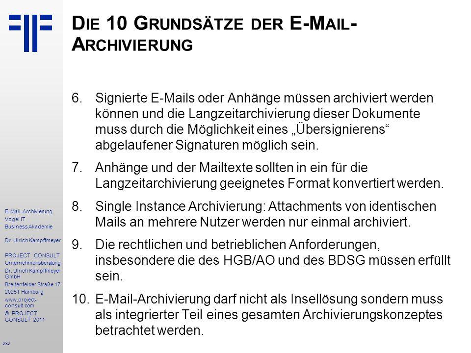 Die 10 Grundsätze der E-Mail-Archivierung