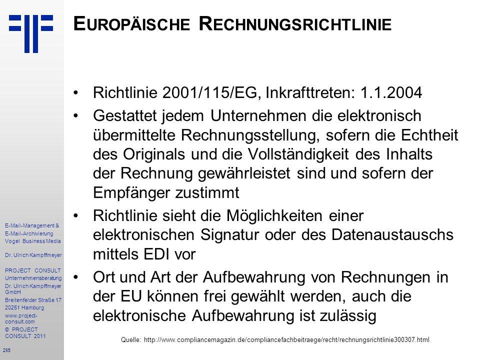 Europäische Rechnungsrichtlinie