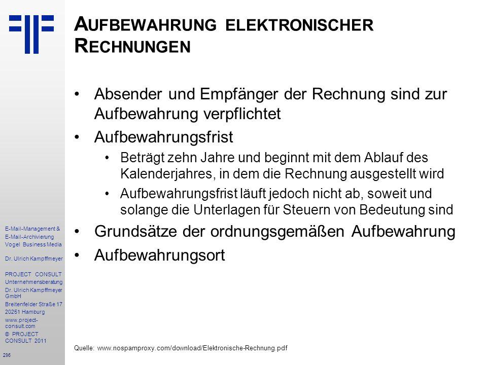 Aufbewahrung elektronischer Rechnungen