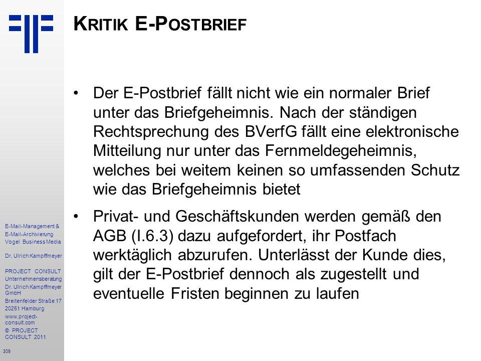 Kritik E-Postbrief