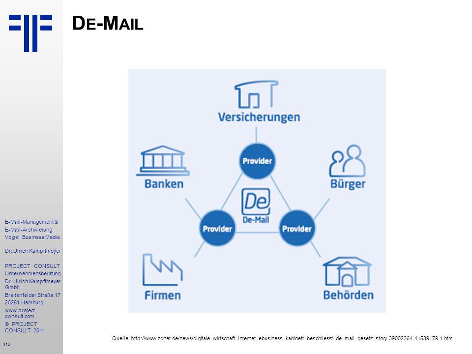 De-Mail Quelle: http://www.zdnet.de/news/digitale_wirtschaft_internet_ebusiness_kabinett_beschliesst_de_mail_gesetz_story-39002364-41539179-1.htm.