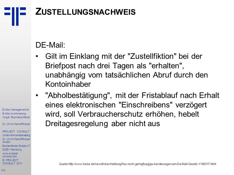 Zustellungsnachweis DE-Mail: