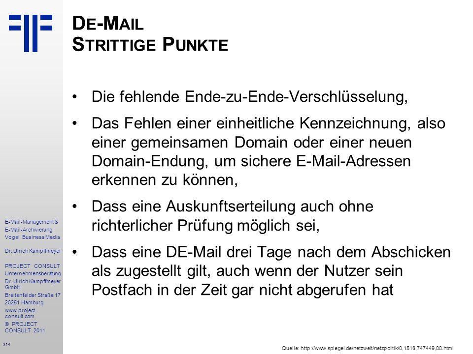 De-Mail Strittige Punkte