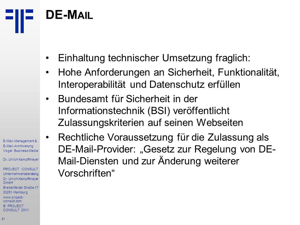 DE-Mail Einhaltung technischer Umsetzung fraglich: