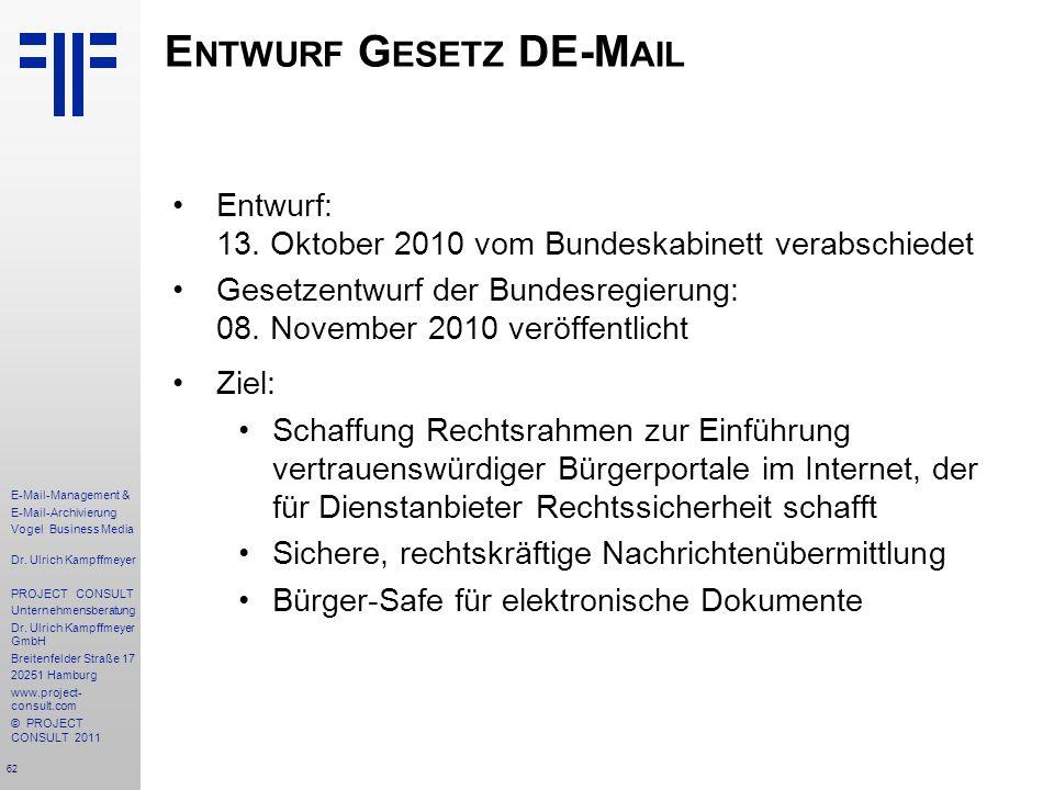 Entwurf Gesetz DE-Mail