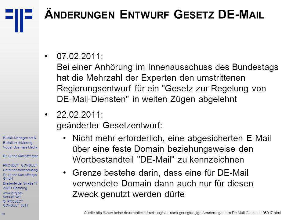 Änderungen Entwurf Gesetz DE-Mail