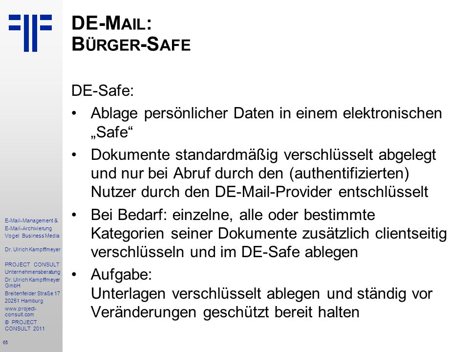 DE-Mail: Bürger-Safe DE-Safe: