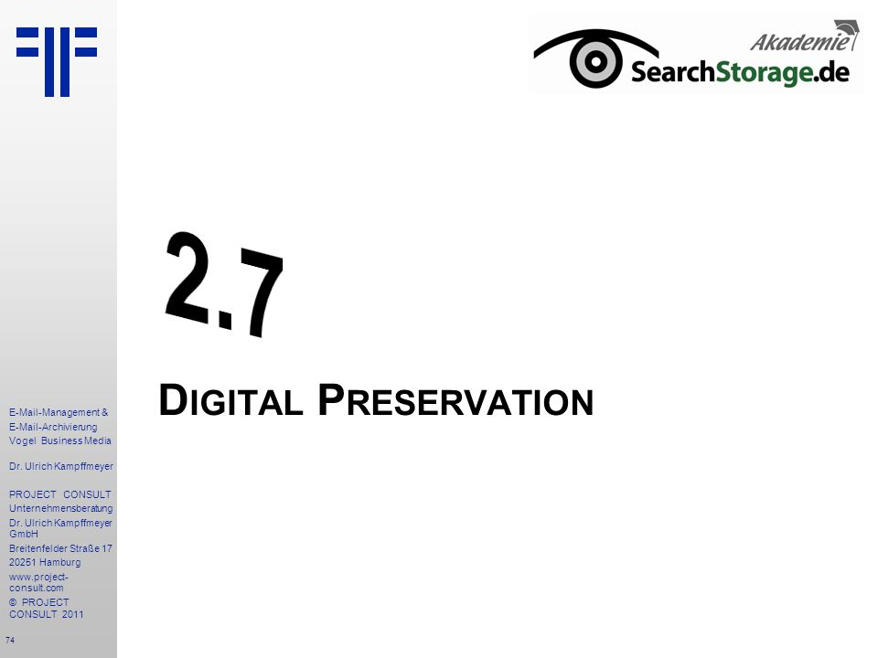 2.7 Digital Preservation