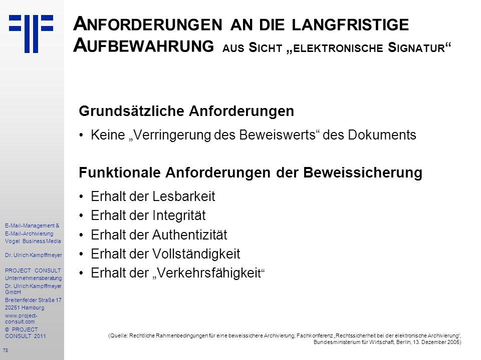 """Anforderungen an die langfristige Aufbewahrung aus Sicht """"elektronische Signatur"""