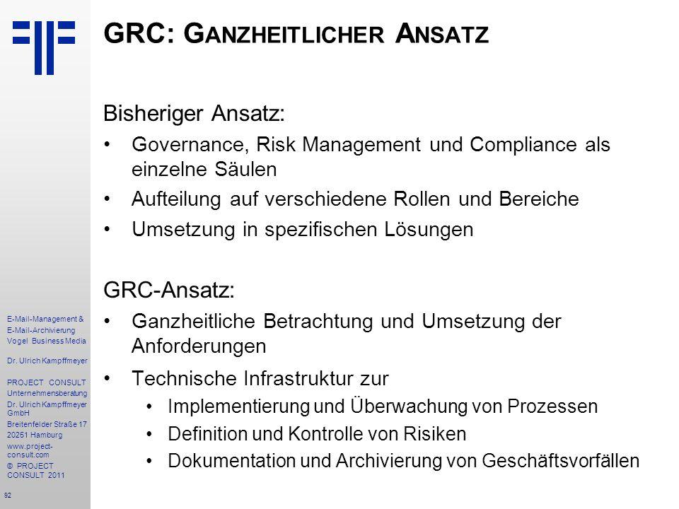 GRC: Ganzheitlicher Ansatz
