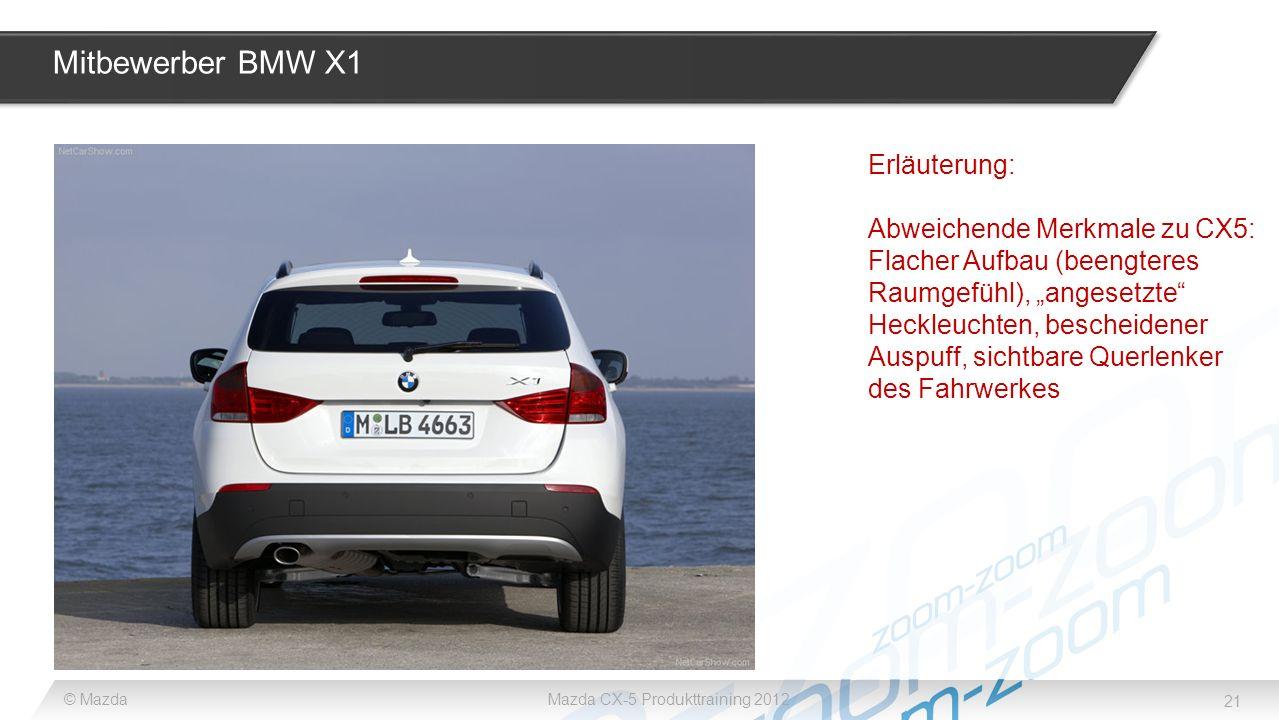 Mitbewerber BMW X1 Erläuterung: Abweichende Merkmale zu CX5: