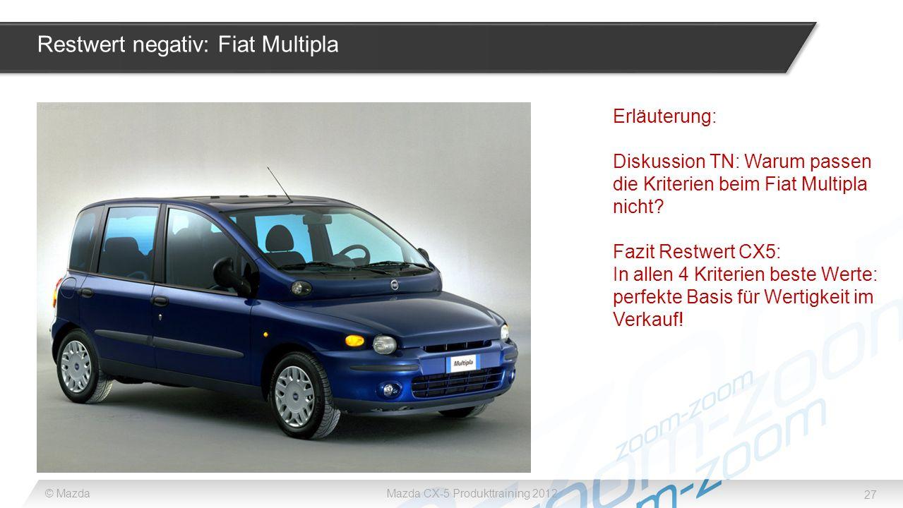 Restwert negativ: Fiat Multipla