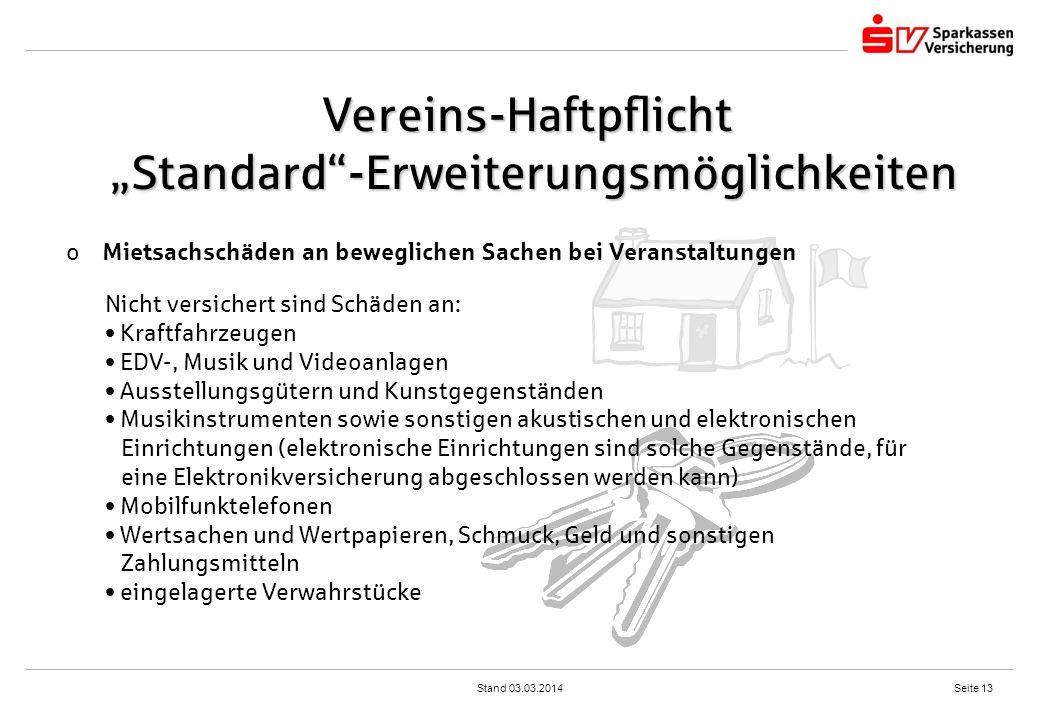 """Vereins-Haftpflicht """"Standard -Erweiterungsmöglichkeiten"""