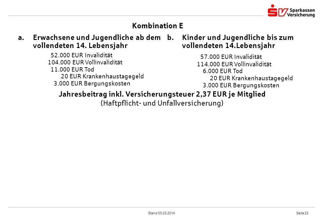 Jahresbeitrag inkl. Versicherungsteuer 2,37 EUR je Mitglied