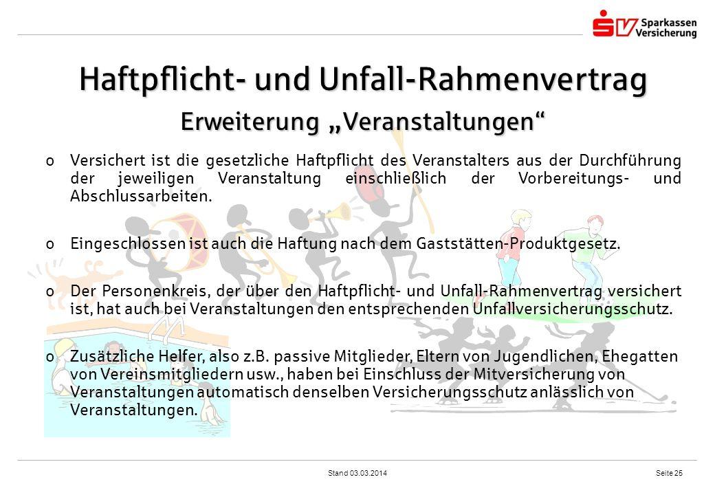 """Haftpflicht- und Unfall-Rahmenvertrag Erweiterung """"Veranstaltungen"""