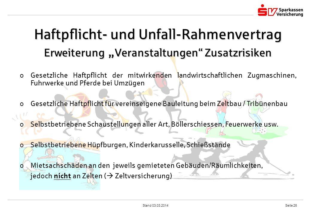"""Haftpflicht- und Unfall-Rahmenvertrag Erweiterung """"Veranstaltungen Zusatzrisiken"""
