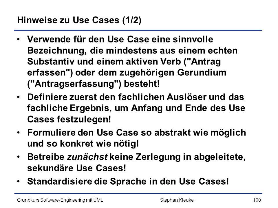 Hinweise zu Use Cases (1/2)