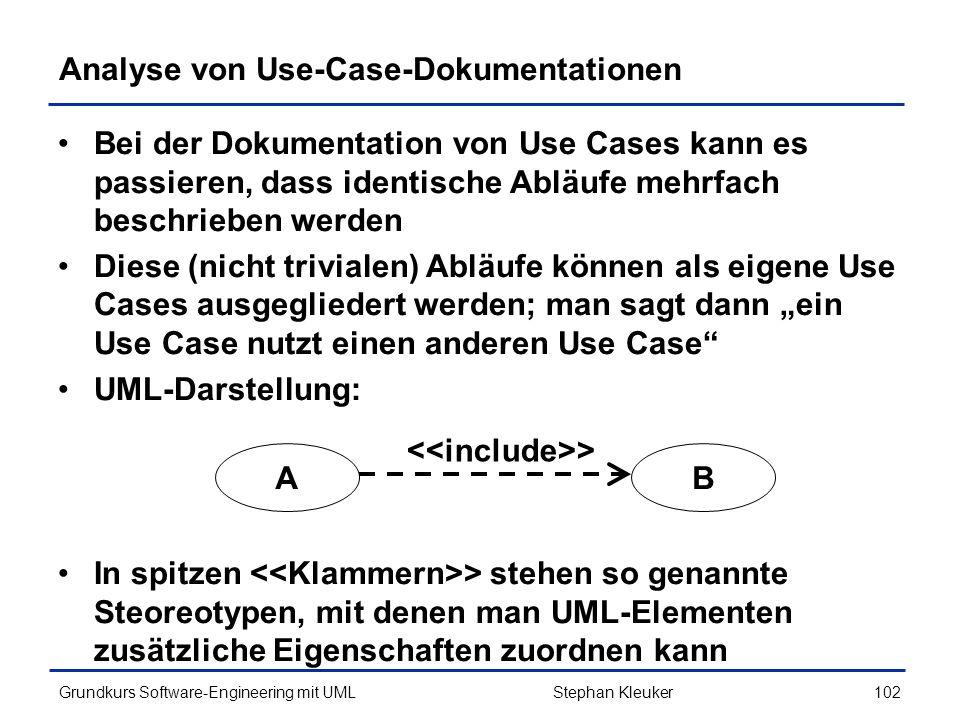 Analyse von Use-Case-Dokumentationen
