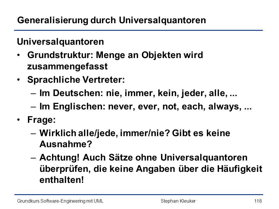 Generalisierung durch Universalquantoren