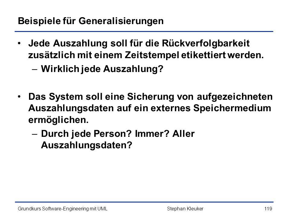 Beispiele für Generalisierungen