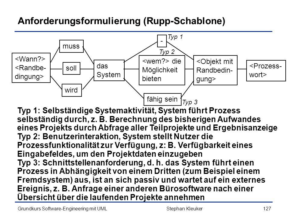 Anforderungsformulierung (Rupp-Schablone)