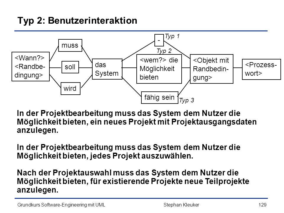 Typ 2: Benutzerinteraktion