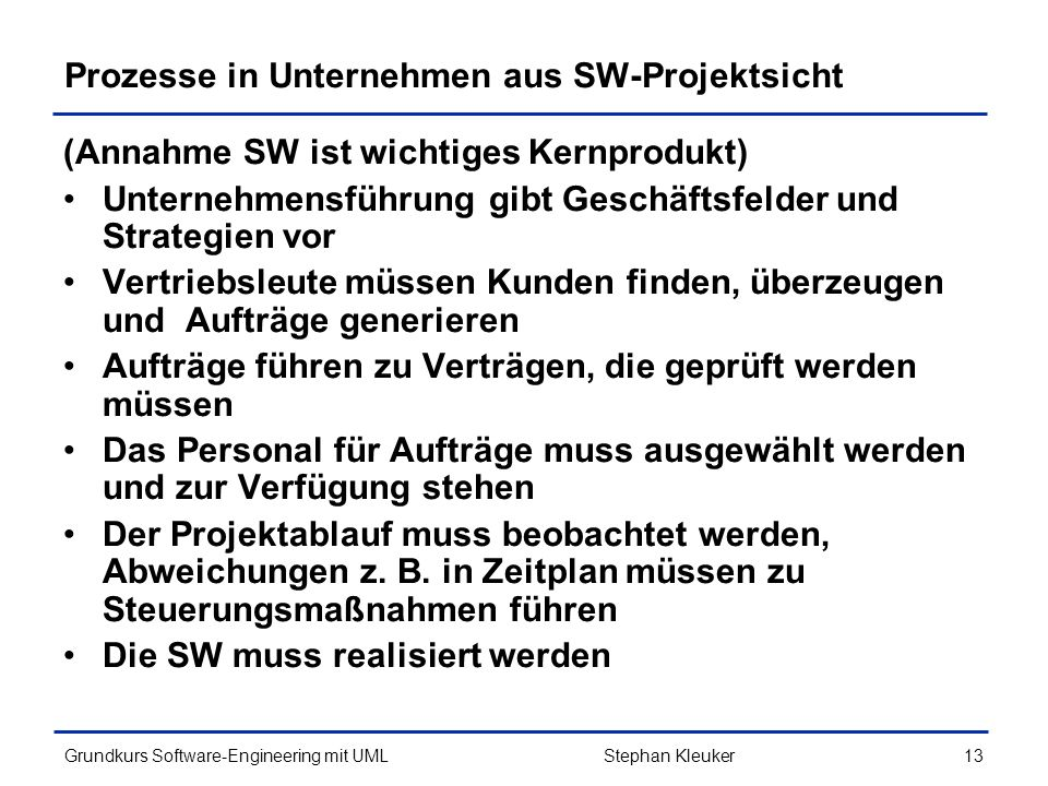 Prozesse in Unternehmen aus SW-Projektsicht