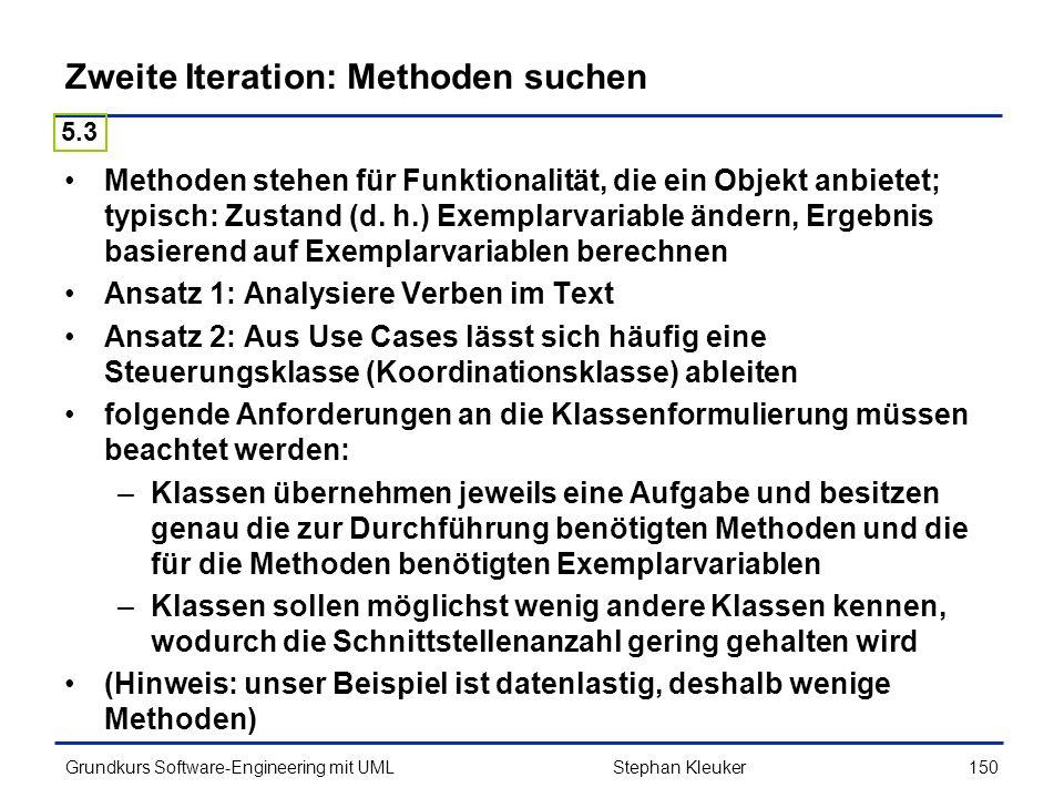 Zweite Iteration: Methoden suchen