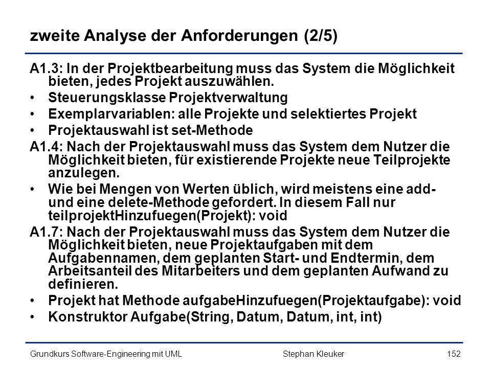 zweite Analyse der Anforderungen (2/5)