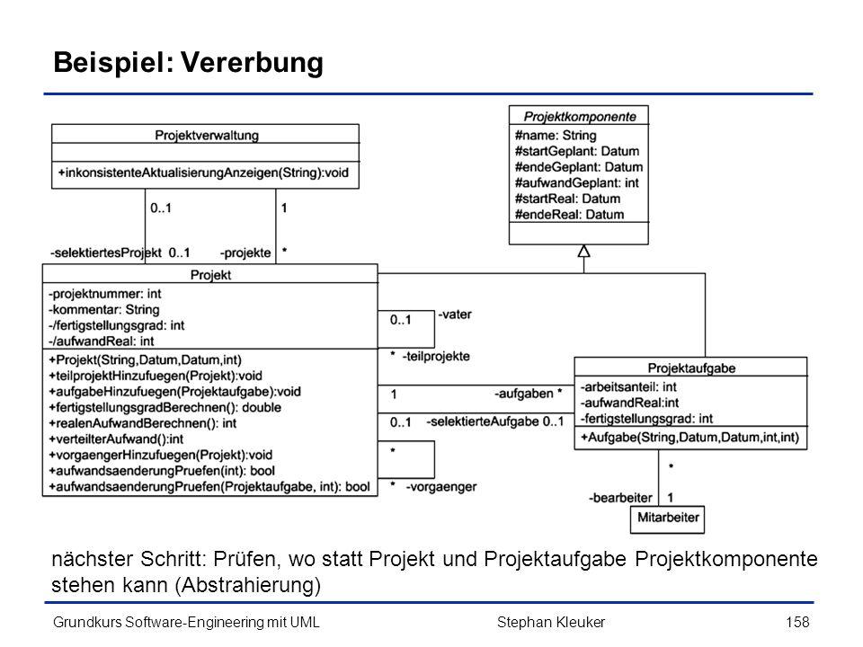 Beispiel: Vererbung nächster Schritt: Prüfen, wo statt Projekt und Projektaufgabe Projektkomponente stehen kann (Abstrahierung)