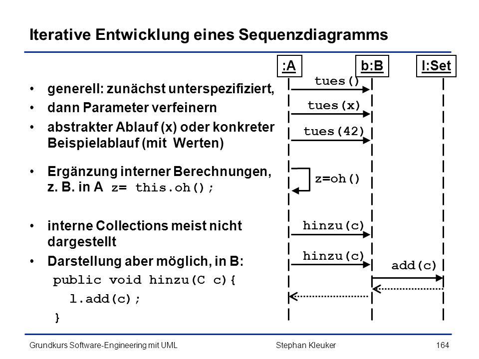Iterative Entwicklung eines Sequenzdiagramms
