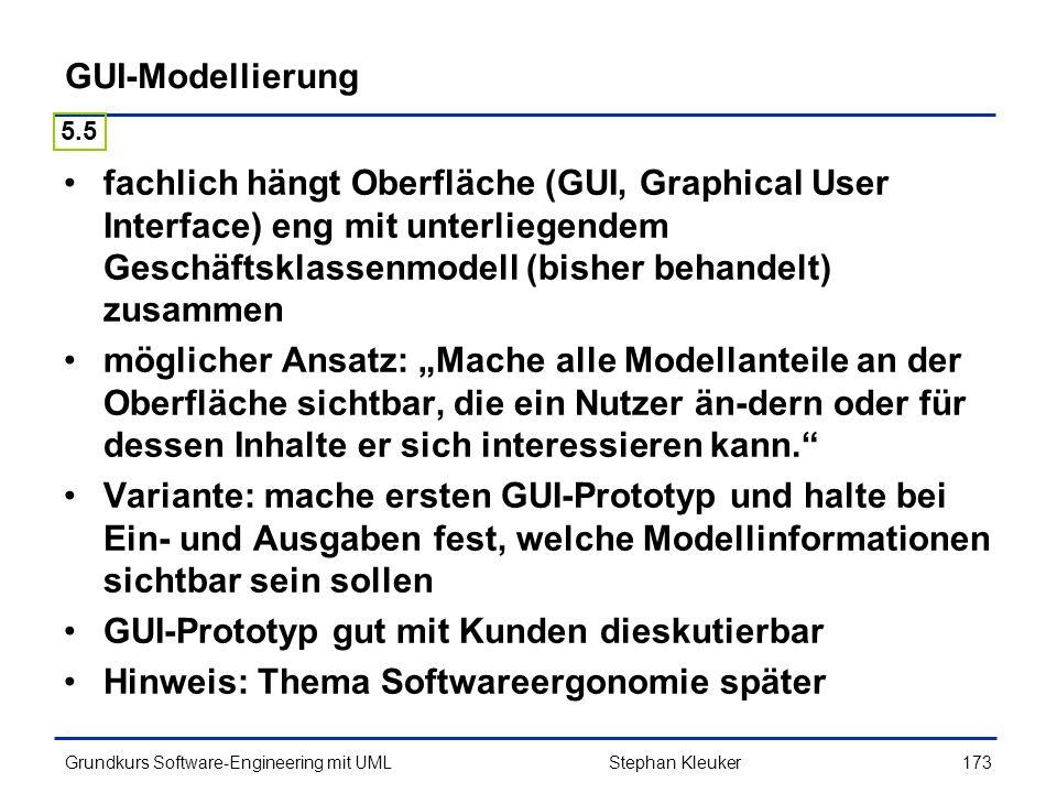 GUI-Prototyp gut mit Kunden dieskutierbar