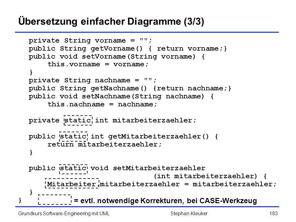 Übersetzung einfacher Diagramme (3/3)