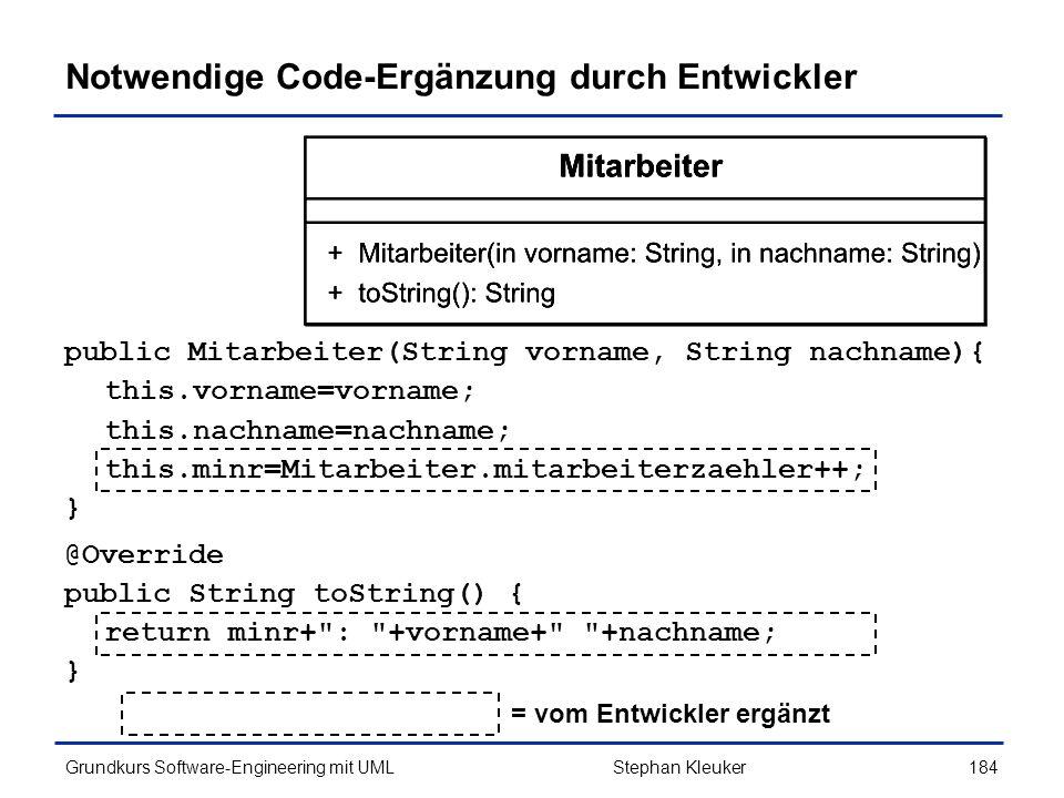 Notwendige Code-Ergänzung durch Entwickler