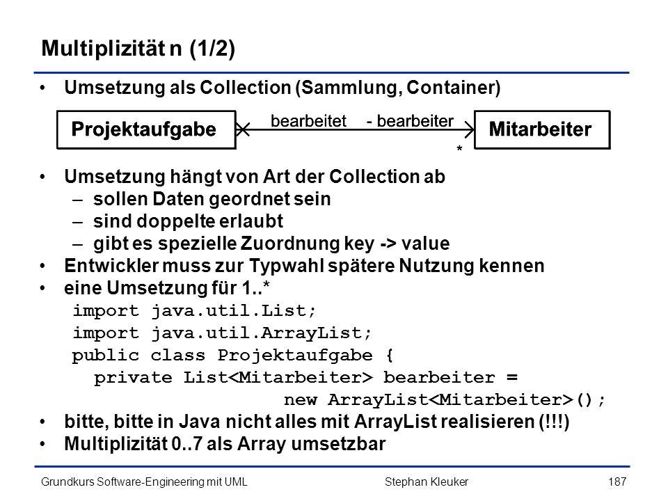 Multiplizität n (1/2) Umsetzung als Collection (Sammlung, Container)
