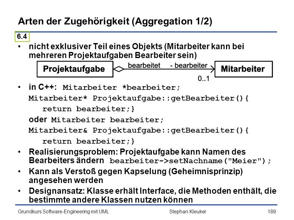 Arten der Zugehörigkeit (Aggregation 1/2)