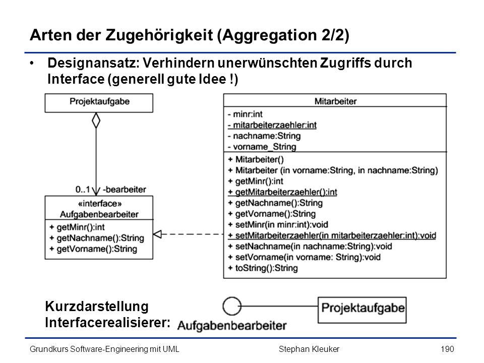 Arten der Zugehörigkeit (Aggregation 2/2)