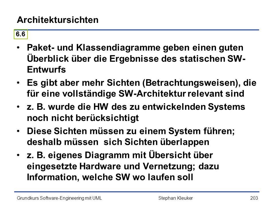 Architektursichten 6.6. Paket- und Klassendiagramme geben einen guten Überblick über die Ergebnisse des statischen SW-Entwurfs.
