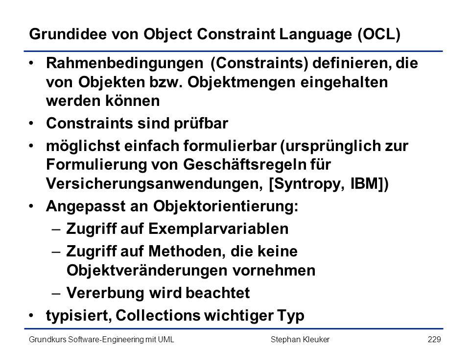Grundidee von Object Constraint Language (OCL)