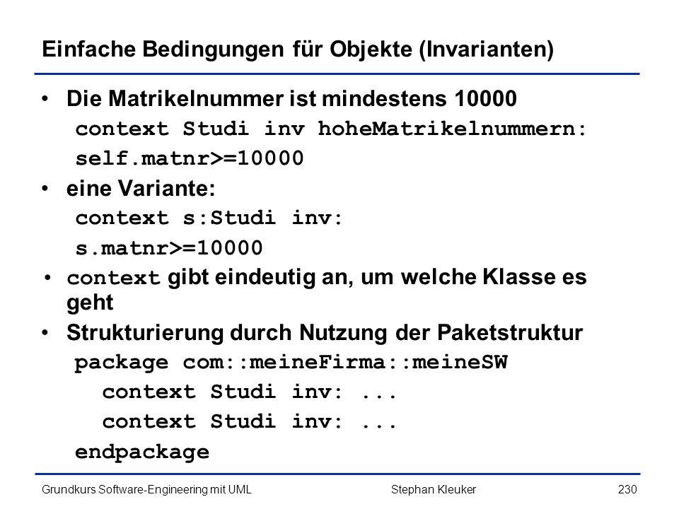 Einfache Bedingungen für Objekte (Invarianten)