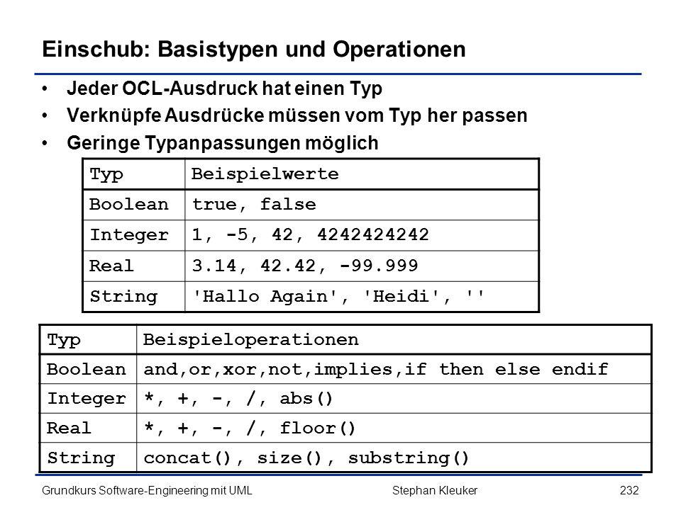 Einschub: Basistypen und Operationen