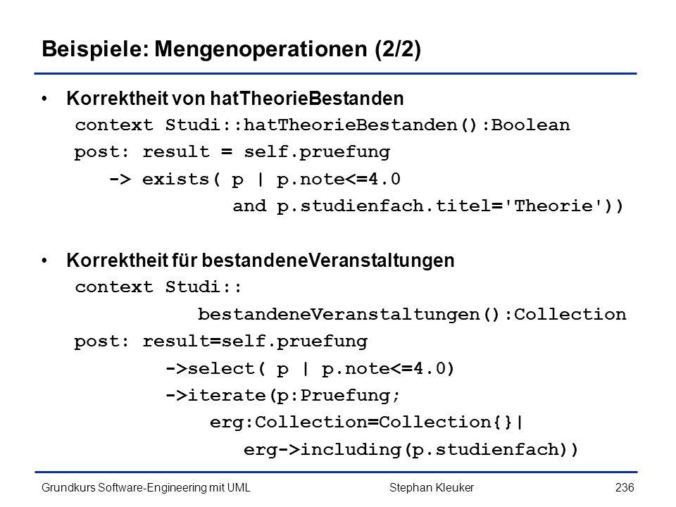 Beispiele: Mengenoperationen (2/2)