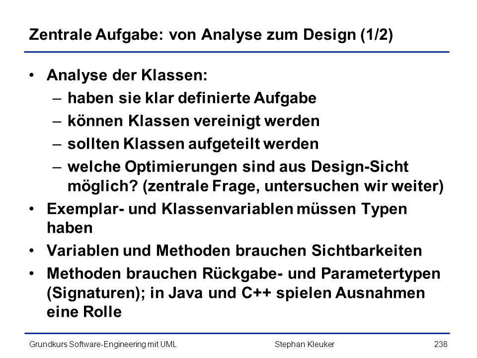Zentrale Aufgabe: von Analyse zum Design (1/2)