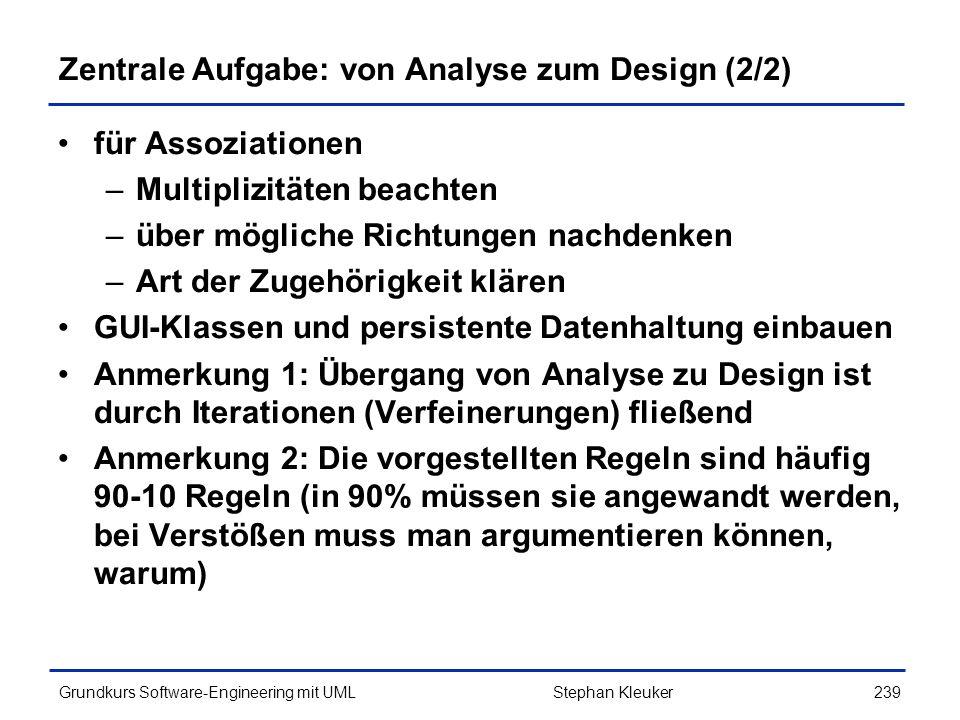 Zentrale Aufgabe: von Analyse zum Design (2/2)