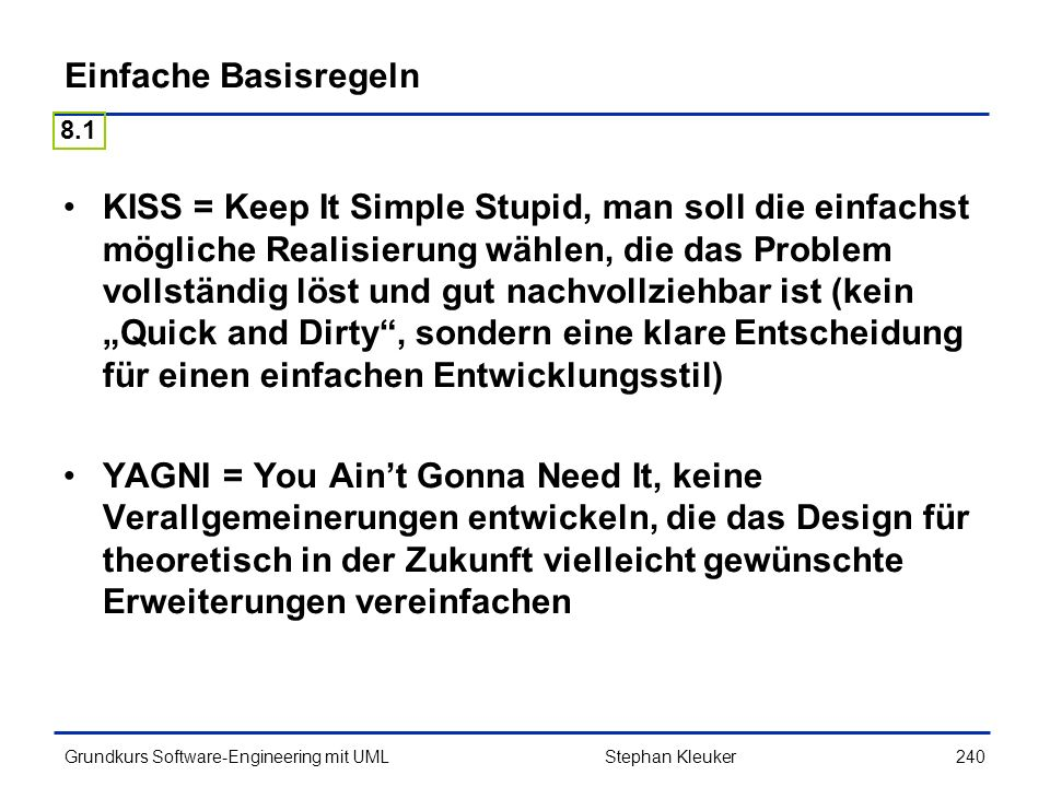 Einfache Basisregeln 8.1.